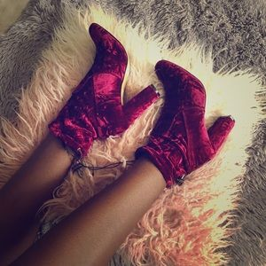 Express Pink Burgundy Crushed Velvet Sock Booties